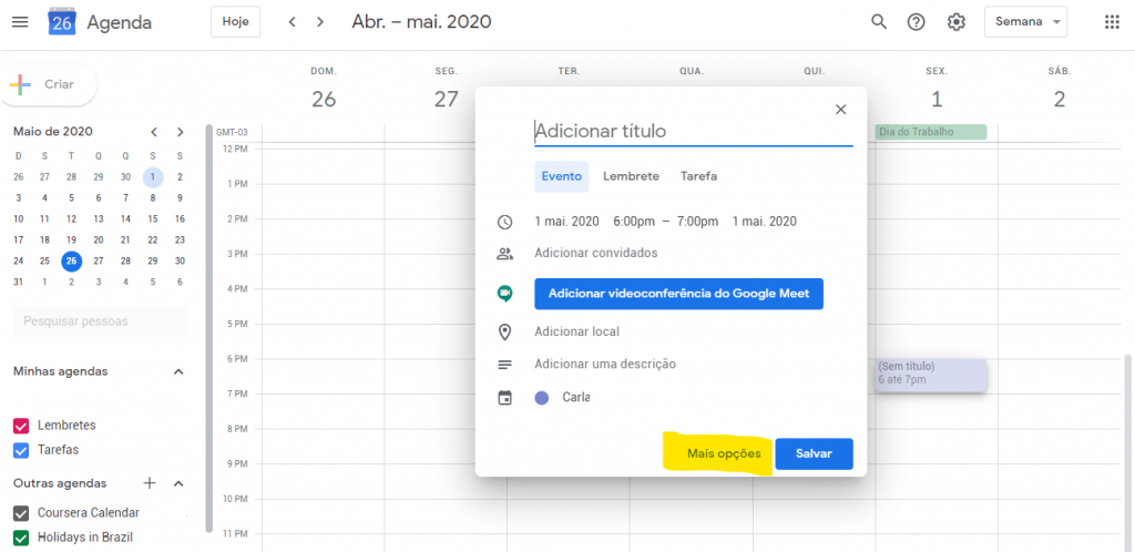 colorir calendario do google passo 1