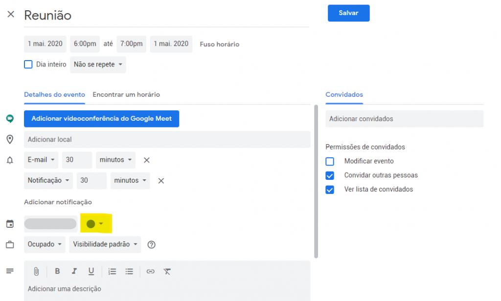 colorir calendario do google passo 2